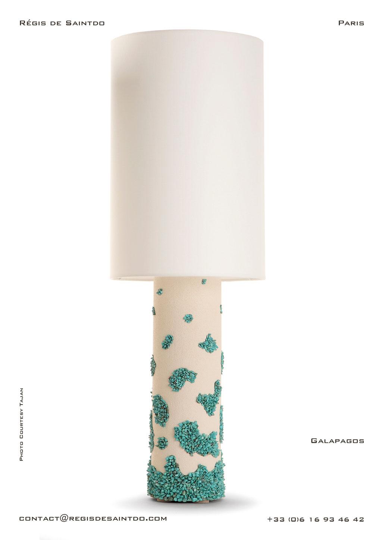Lampe Galapagos en céramique, howlite turquoises- faites main