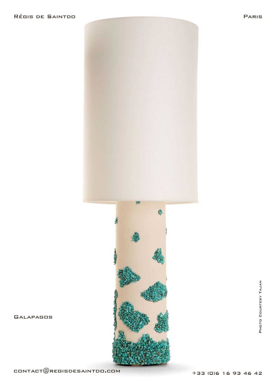 Lamp Galapagos ceramic, turquoises howlites- hand made