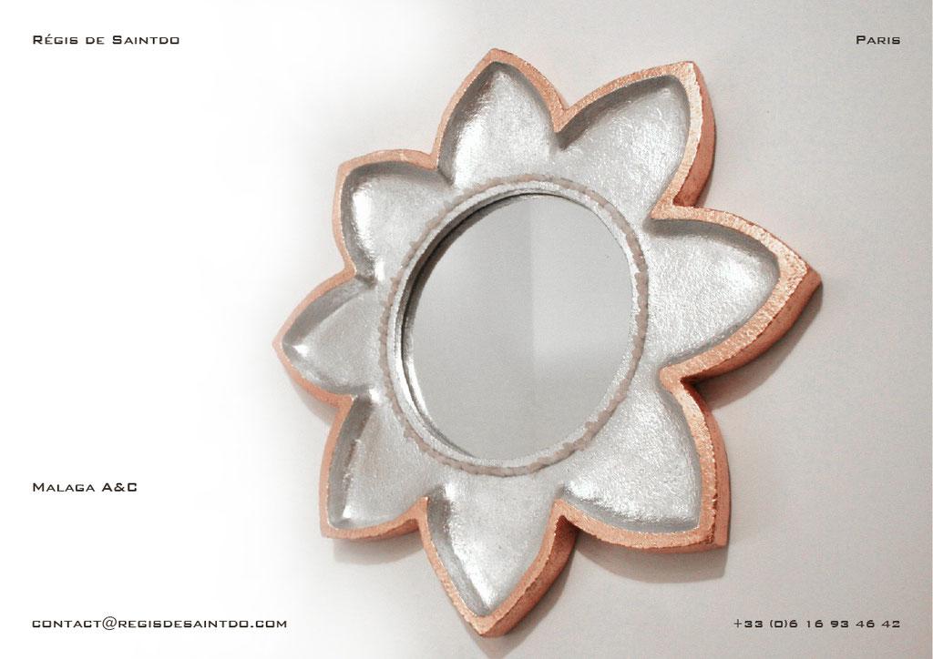 Miroir Malaga en céramique-fait main-feuille d'aluminium et de cuivre-quartz rose