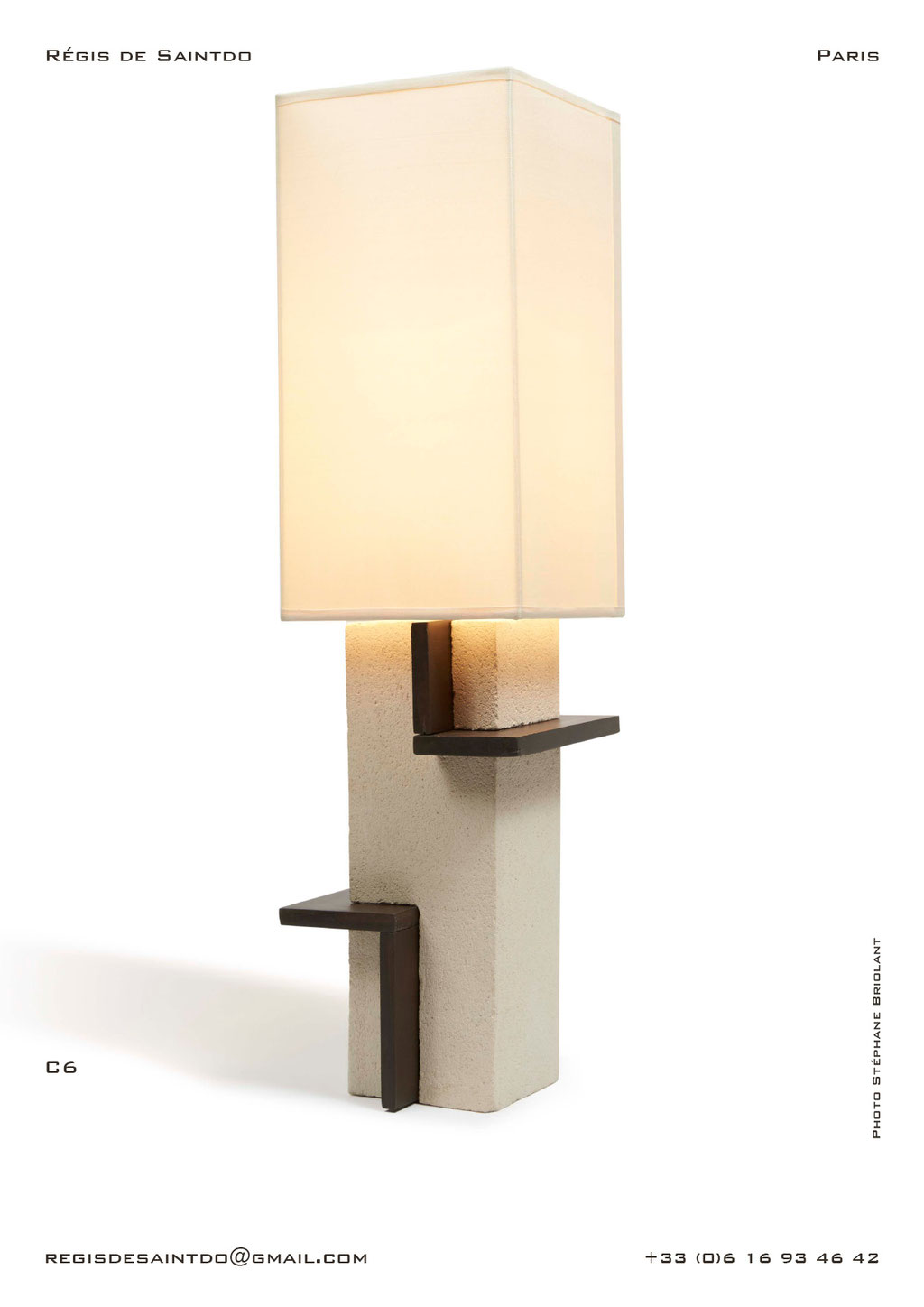 Lamp-C6-white-rough-brown-polished-handmade-unique