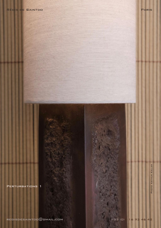 Lampe-perturbations-2-céramique-brune-brute-polie-faite-main-unique