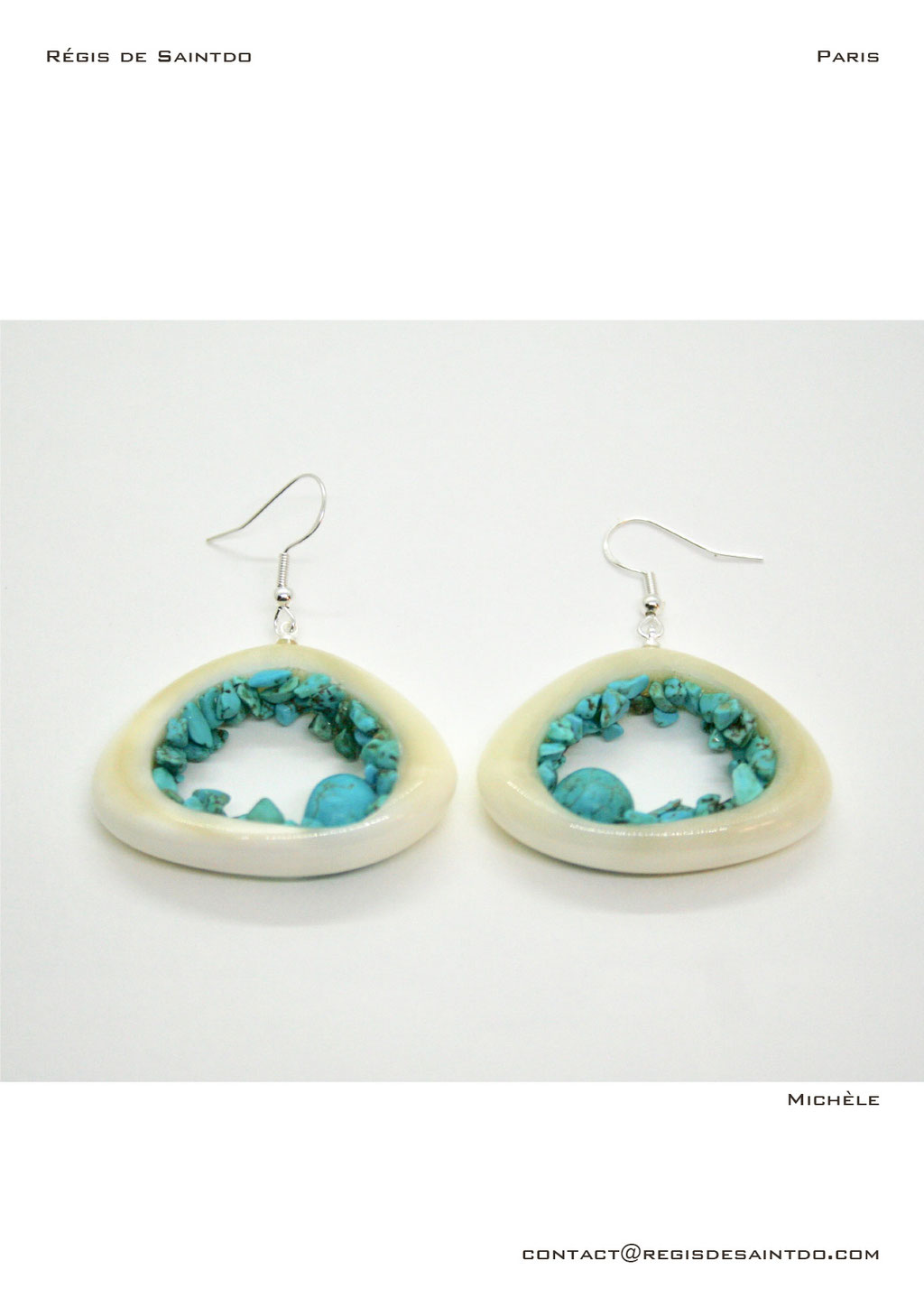 ©Régis de Saintdo-earrings-bone-turquoise howlites-hand made