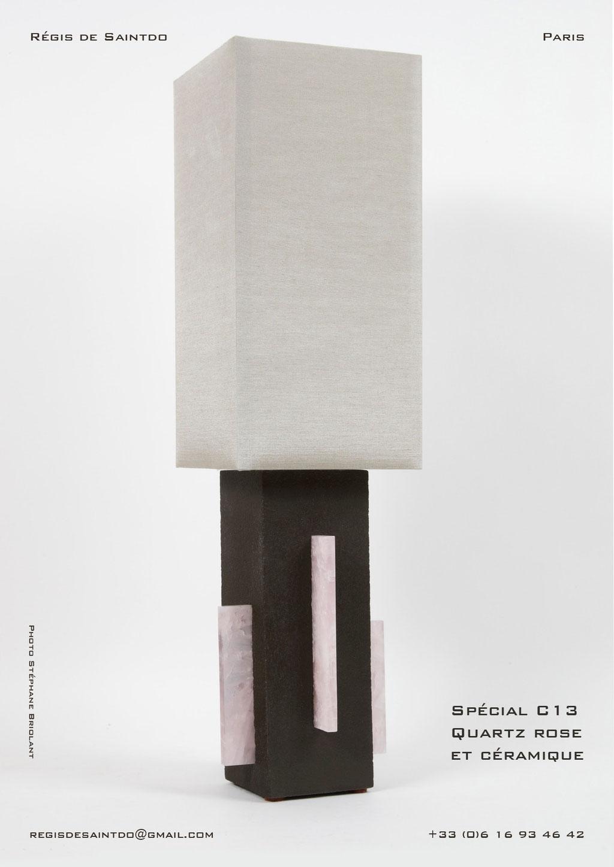 Lampe-C13-céramique-brune-brute-quartz-rose-faite-main-unique