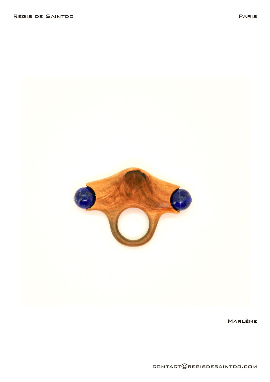 ©Régis de Saintdo-ring-cherry tree-lapis lazuli-hand made