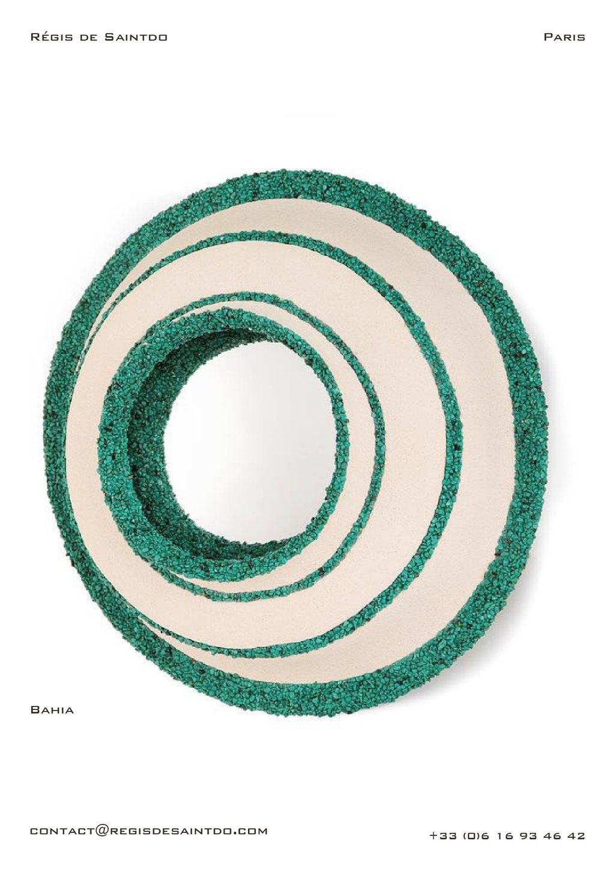 Mirror Bahia, ceramic, green howlite-handmade