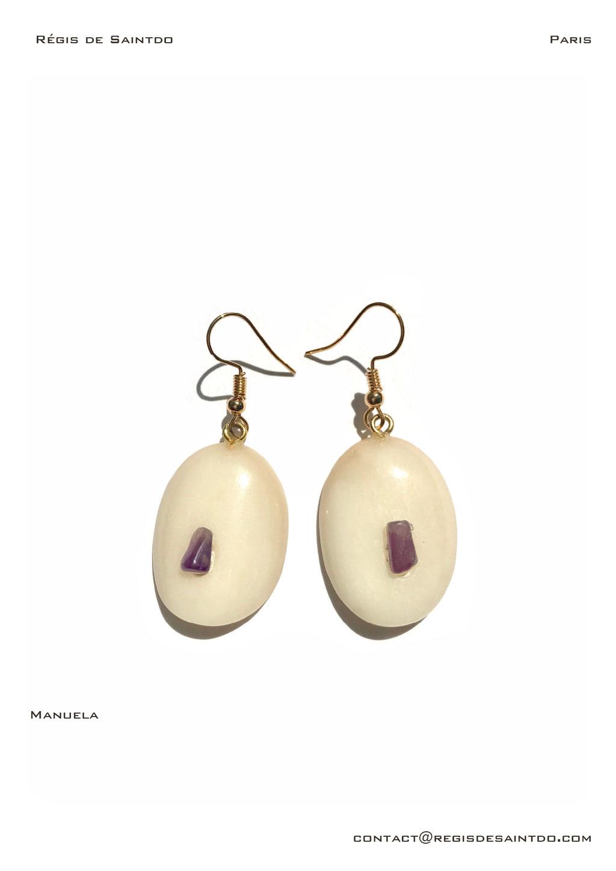 ©Régis de Saintdo-earings-bone-amethyst-hand made