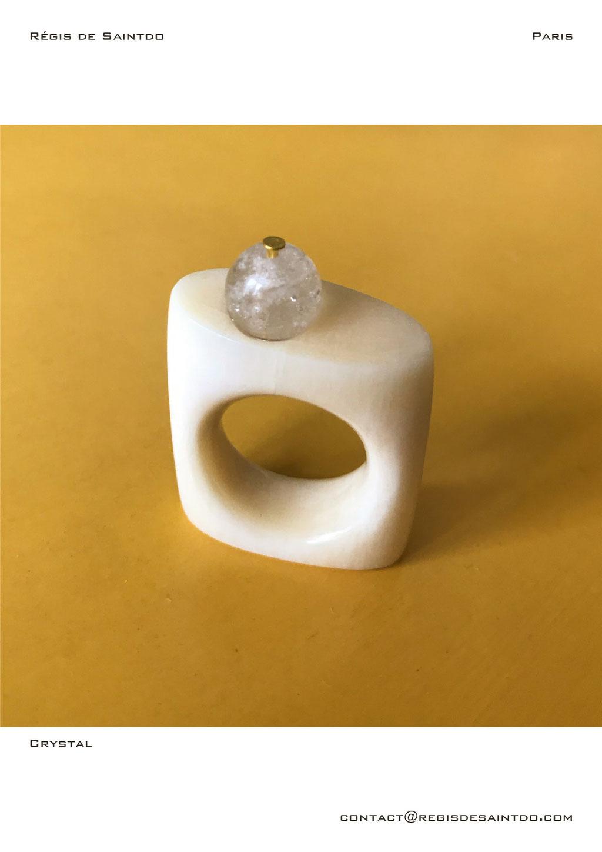 ©Régis de Saintdo-Bague-os-cristal de roche-fait main