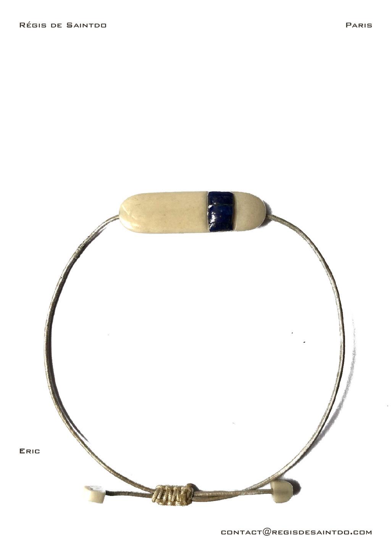 ©Régis de Saintdo-bracelet-bone-lapis lazuli-hand made
