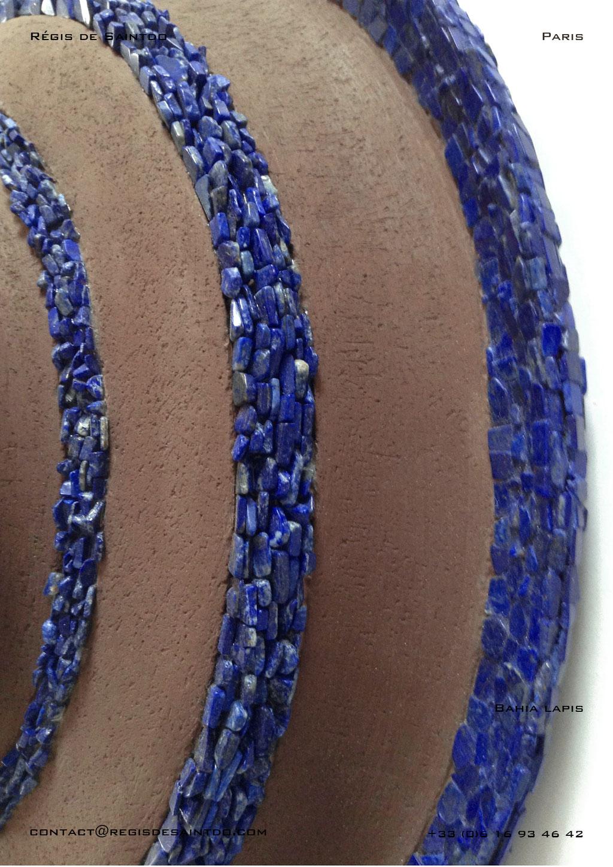Miroir Bahia Lapis en céramique et Lapis Lazuli - fait main