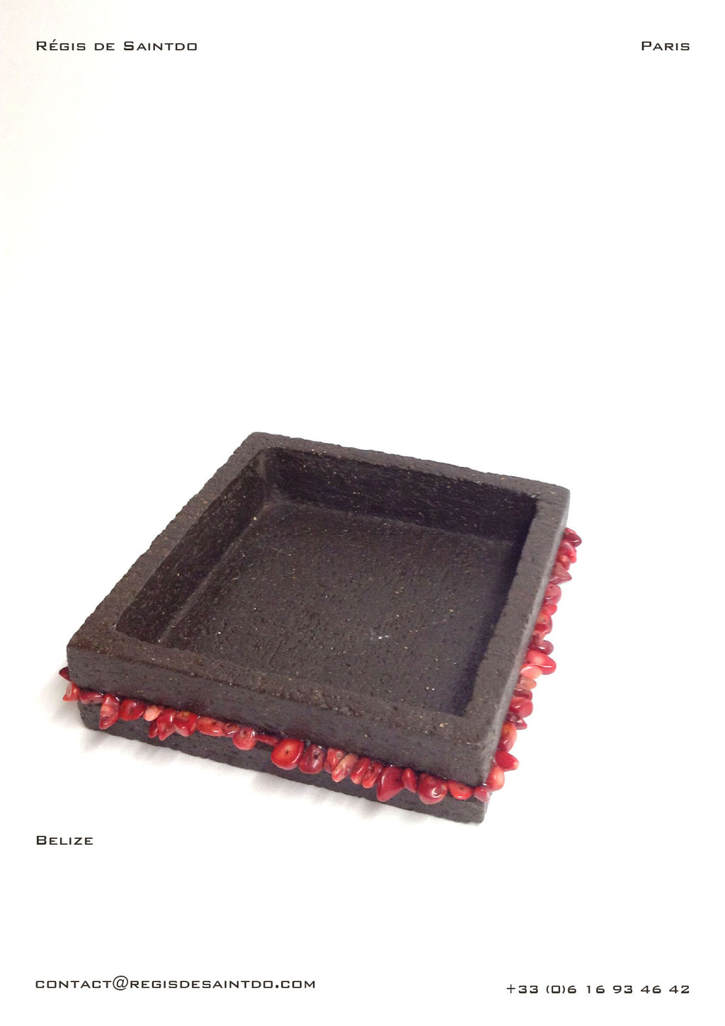 Pin tray-Brown-rough-ceramic-coral howlite-handmade