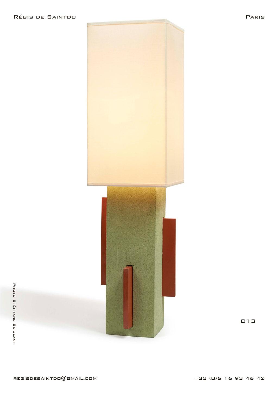 Lampe-C13-céramique-verte-brute-blanche-polie-faite-main-unique