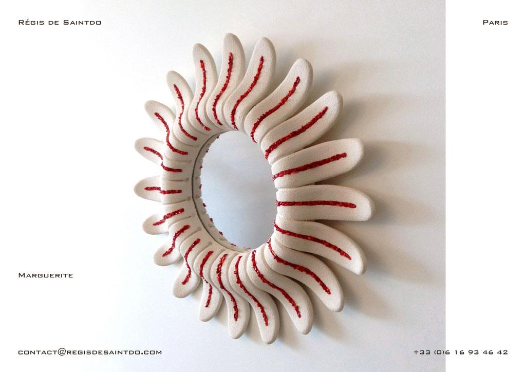 Miroir Marguerite en céramique, corail, -fait main