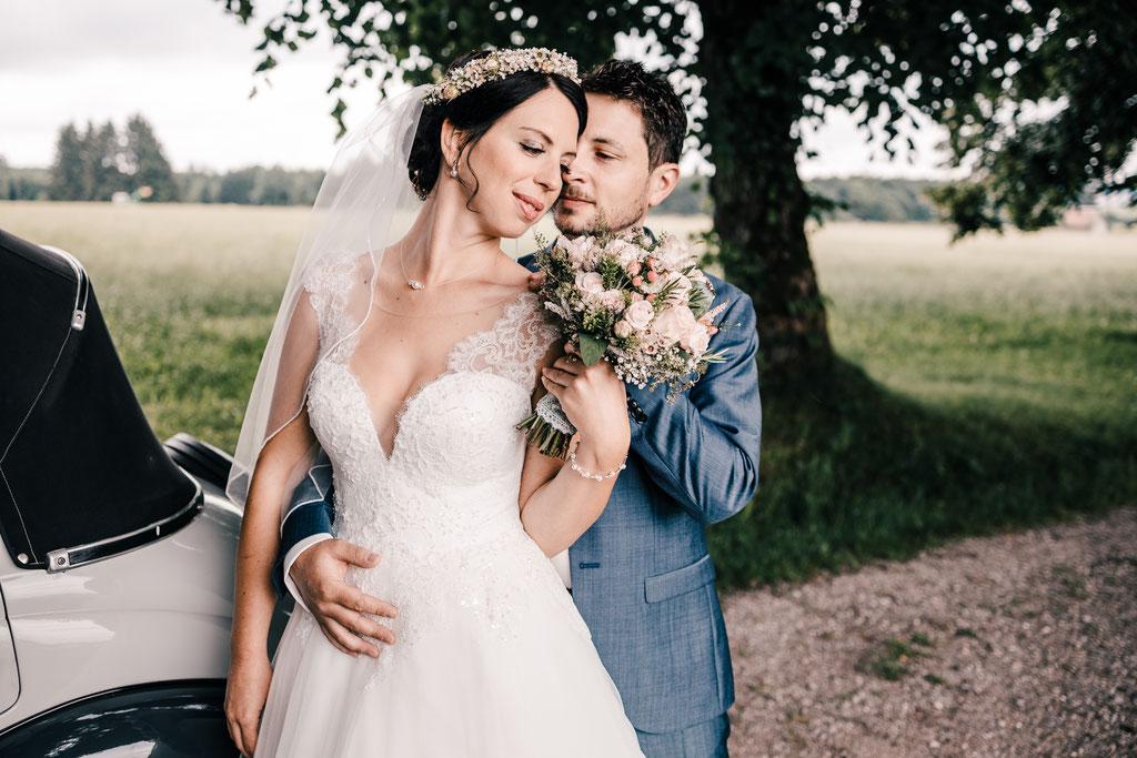 Hochzeitsfotografie, Portraits, Braut, Hochzeit, Heiraten, Lets make memories, Fotografie, Photographie by Romina, Haselbach, Unterallgäu, Schwaben, Natur, kirchliche Trauung, Brautkleid, Nassenbeuren