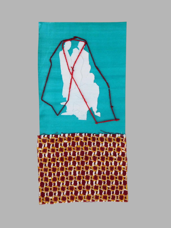"""aus der Serie """"auf der Flucht"""", Entstehungsjahr: 2018, Technik: Papierarbeit, Collage, Stickerei, Größe: 60 cm x 42 cm, in Privatbesitz"""