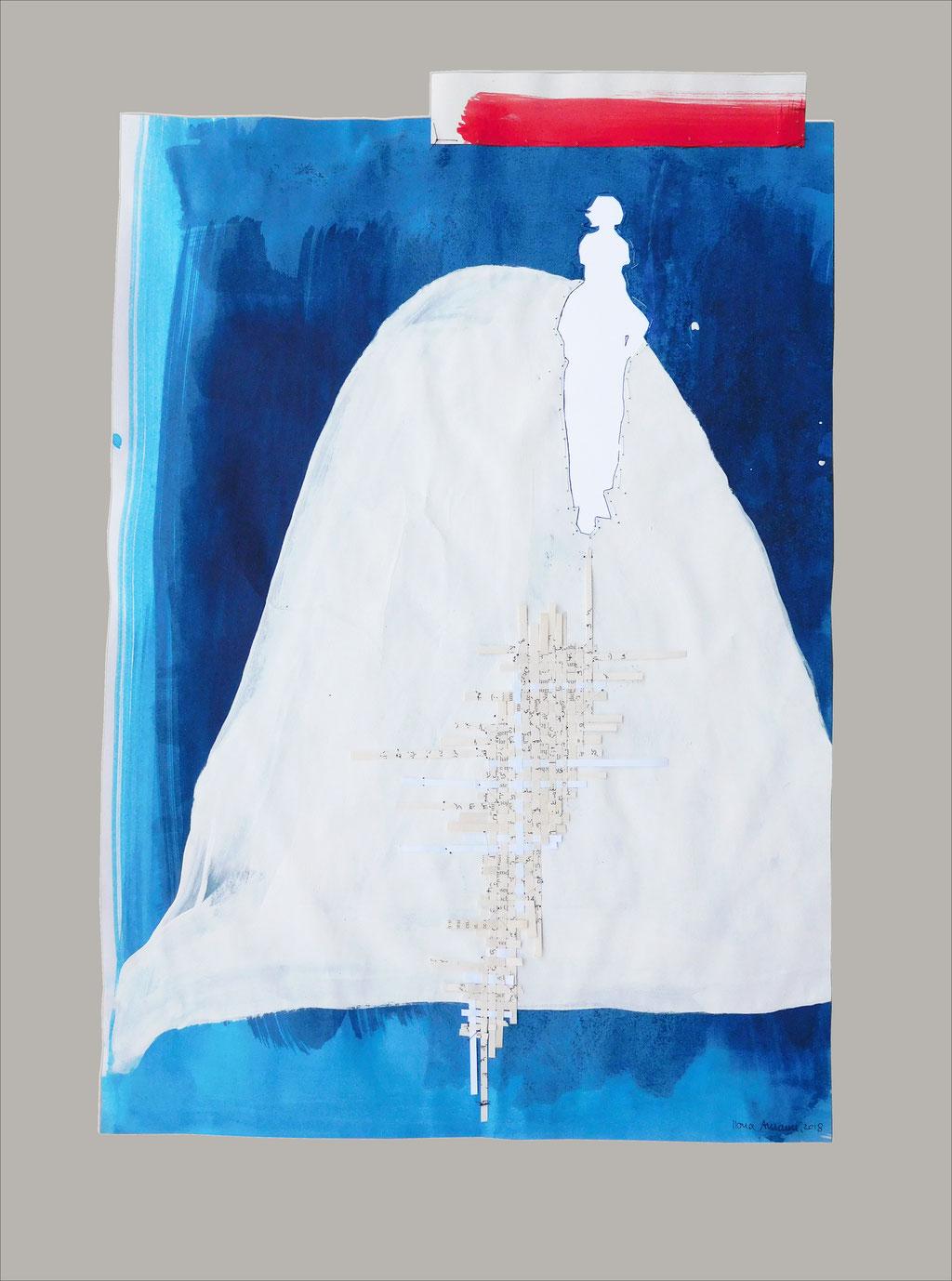 """aus der Serie """"auf der Flucht"""", Entstehungsjahr: 2018, Technik: Papierarbeit, Collage, Stickerei, Größe: 72 cm x 52 cm"""