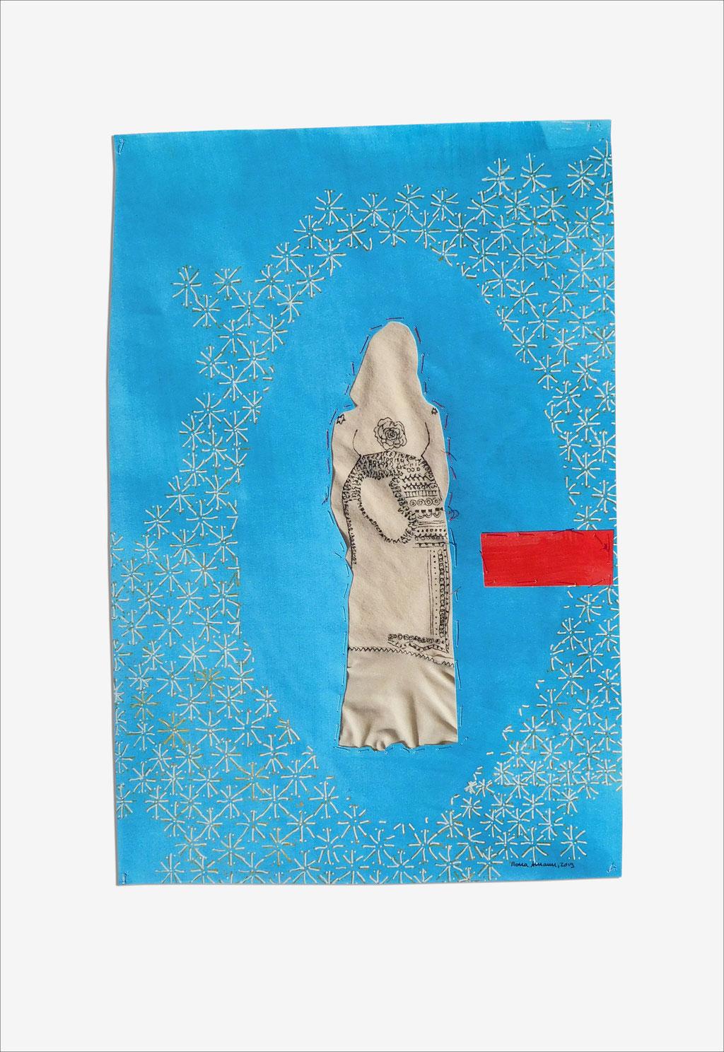 """aus der Serie """"die weinende Mutter"""", 2019, Technik: Papierarbeit, Collage, Stickerei, Größe: 60 cm x 42 cm, in Privatbesitz"""