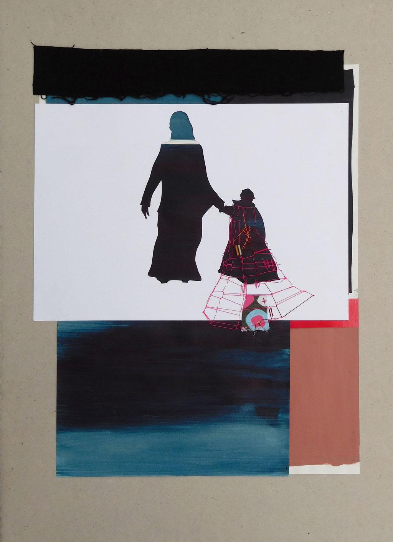 """aus der Serie """"auf der Flucht"""", Entstehungsjahr: 2015, Technik: Papierarbeit, Collage, Größe: 55 cm x 35 cm ohne Rahmen, 70 cm x 50 cm incl. Rahmen, in Privazbesitz"""