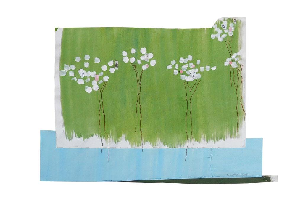 """Blütengeschwätz, 3"", 2020, Technik: Mischtechnik, Stickerei, Größe: 37cm x 53cm"