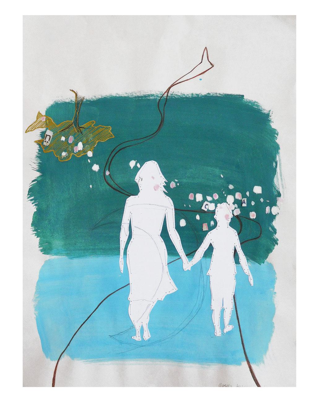 """Blütengeschwätz, 5"", 2020, Technik: Mischtechnik, Stickerei, Größe: 42cm x 30cm"