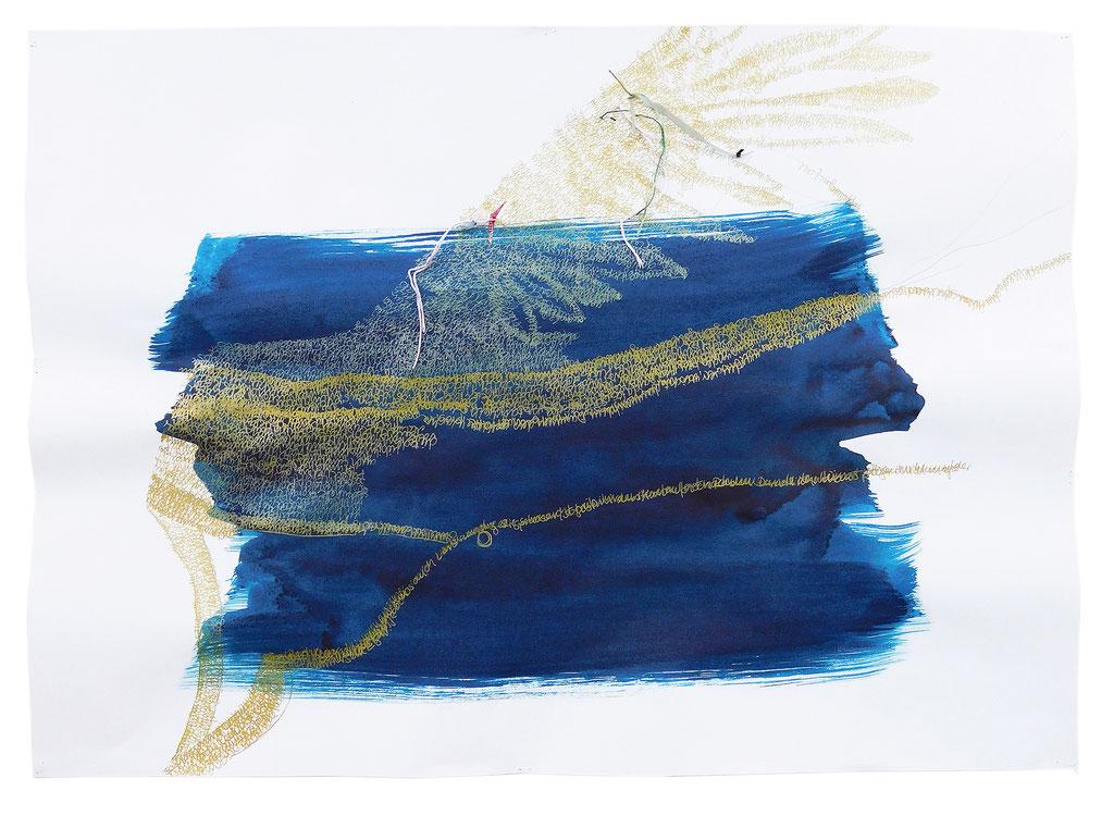 """aus der Serie """"Mythos"""", Ikaros, Entstehungsjahr: 2019, Technik: Papierarbeit, Collage, bestickt, Größe: 50 cm x 70 cm, ohne Rahmen, 70 cm x 100 cm incl. Rahmen"""