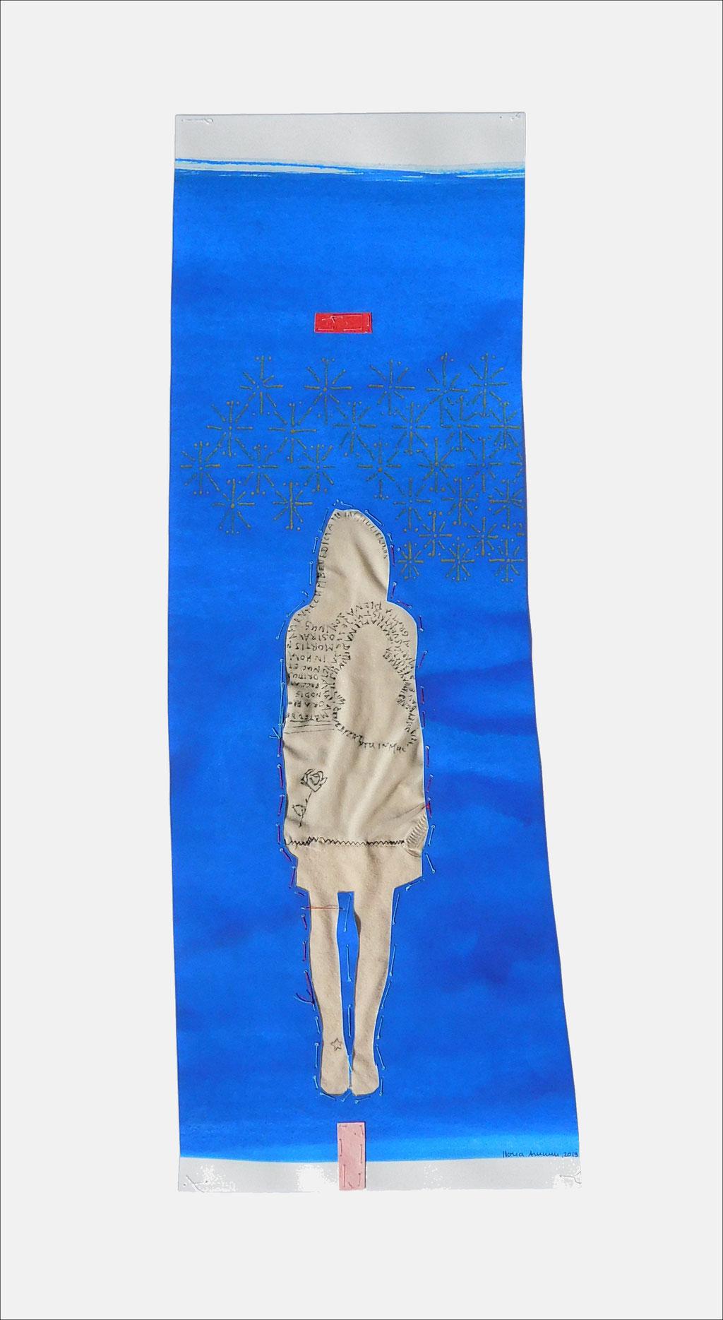 """aus der Serie """"die weinende Mutter"""", 2019, Technik: Papierarbeit, Collage, Stickerei, Größe: 50 cm x 18 cm, 62 cm x 42 cm x incl. Rahmen"""