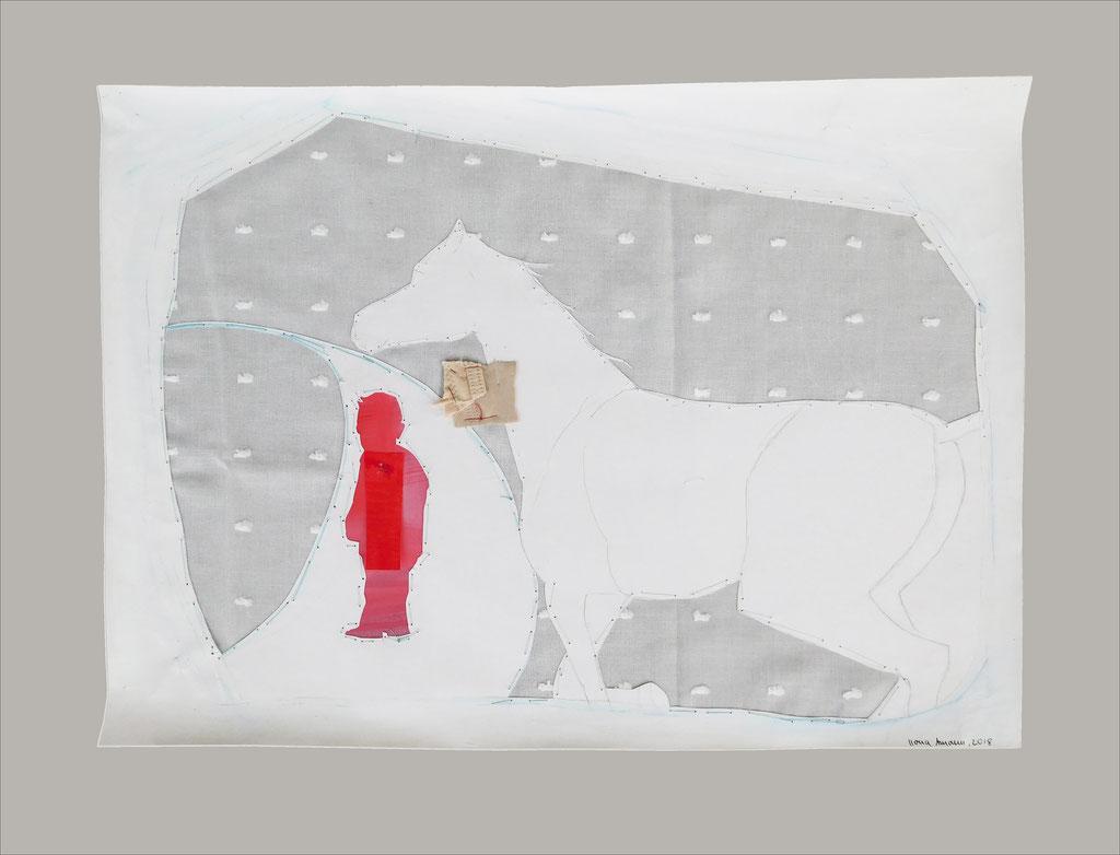 """aus der Serie """"auf der Flucht"""", Entstehungsjahr: 2018, Technik: Papierarbeit, Collage, Stickerei, Größe: 28 cm x 42 cm ohne Rahmen, 42 cm x 62 cm incl. Rahmen, in Privatbesitz"""