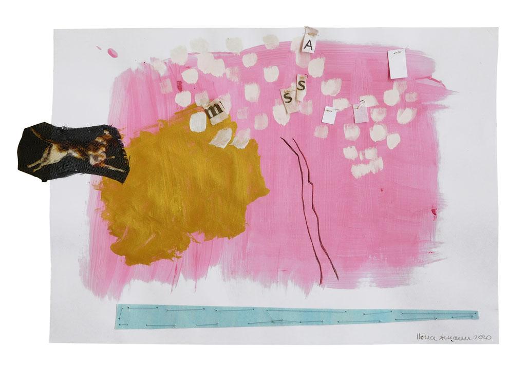 """Blütengeschwätz, 4"", 2020, Technik: Mischtechnik, Stickerei, Größe: 21cm x 32cm"