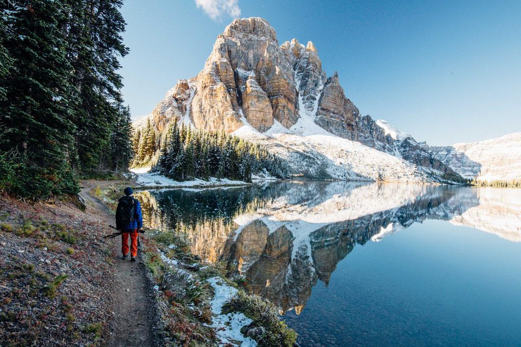 Reflections of Sunburst Peak in Lake Cerulean