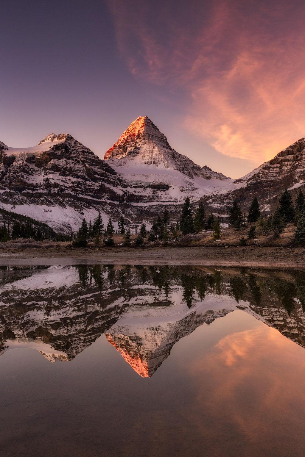 Sunrise reflections of Mount Assiniboine. Mount Assiniboine Photography workshop