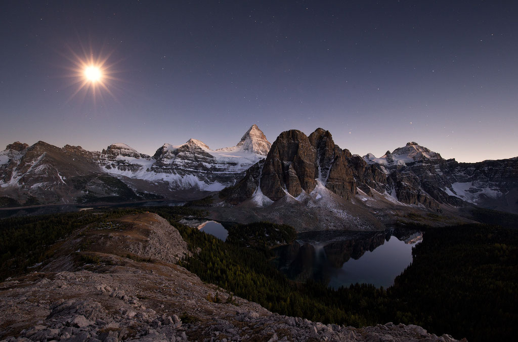 Mount Assiniboine see from the Nublet and lighten by the moonlight. Mount Assiniboine Photography workshop