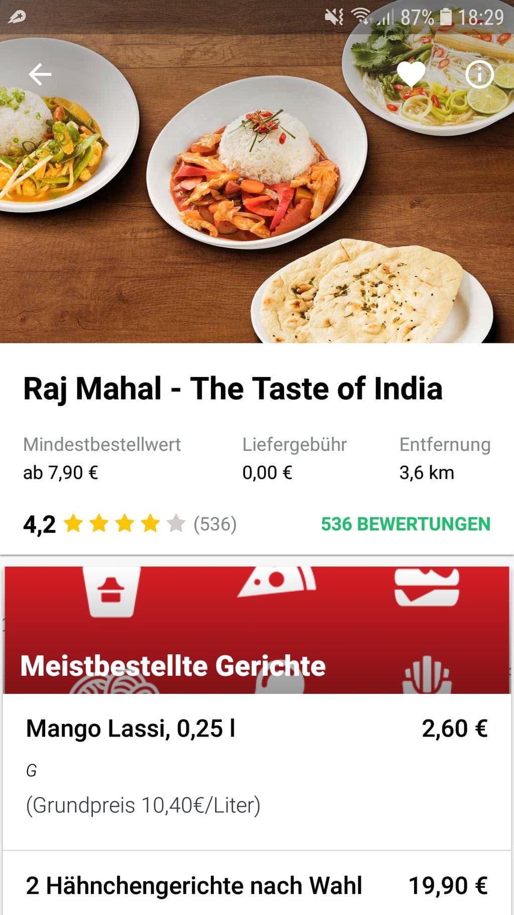 Im Restaurant-Überblick sieht man die wichtigsten Daten zu Bewertung, Mindestbestellwert und der Entfernung zum Wohnort.