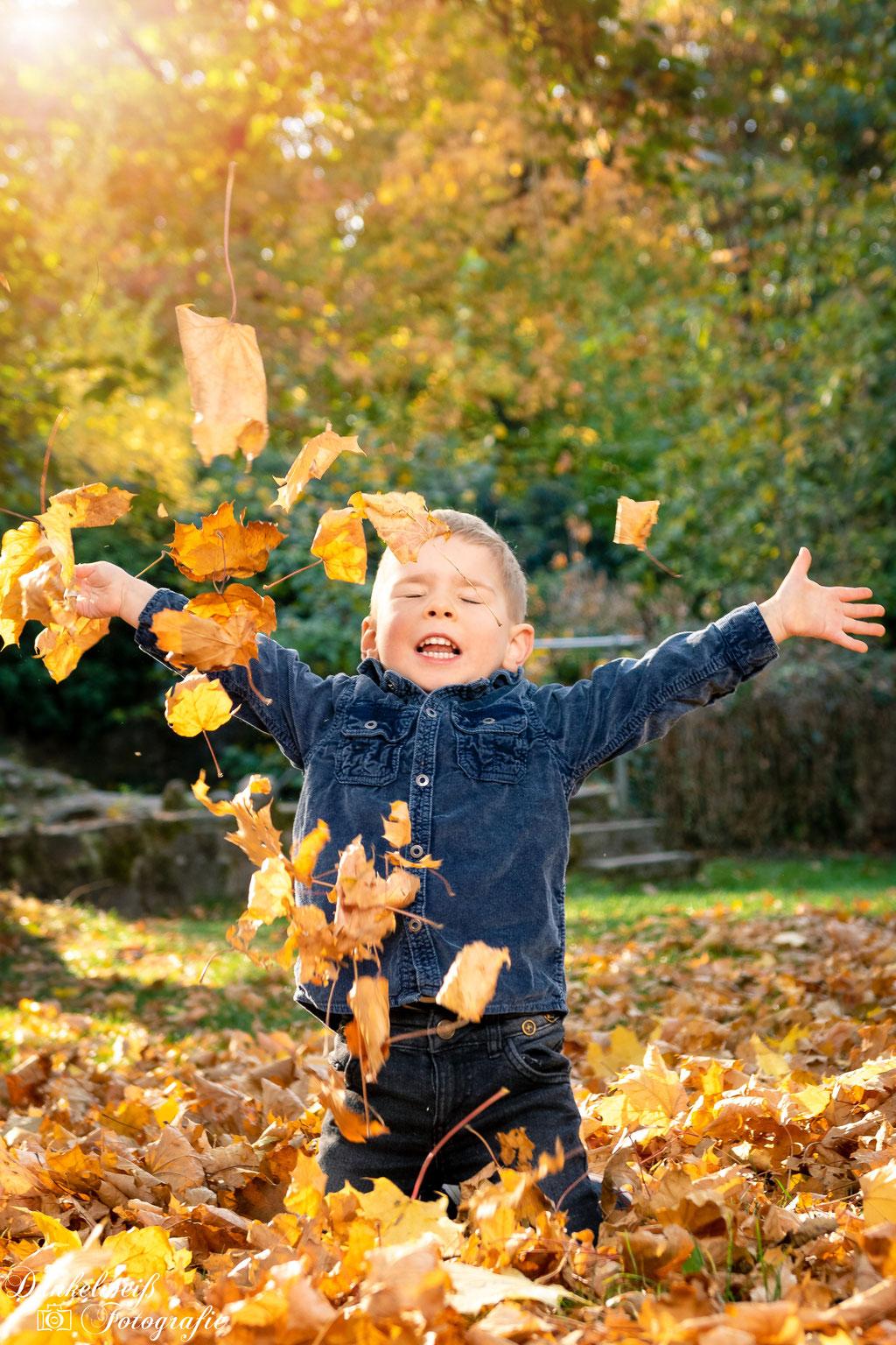 Familienfotografie -  kind sitzt im Laub und wirft es in die Luft