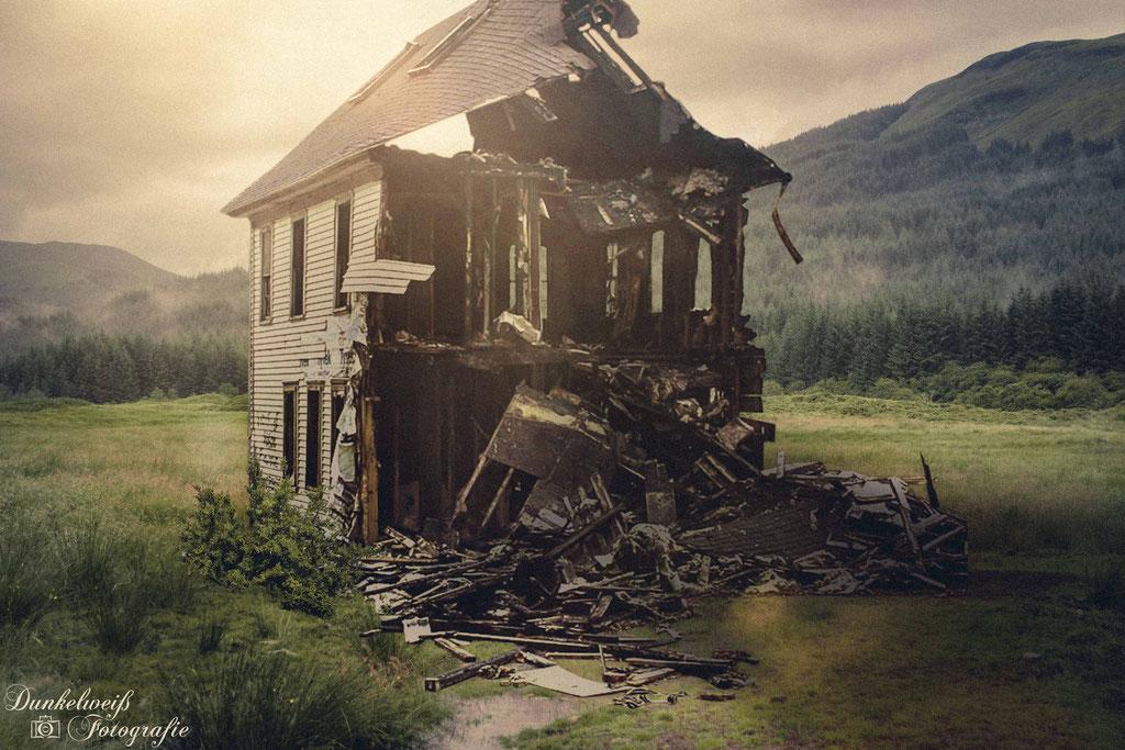 Landschaftsfotografie - Composing zerfallenes Haus in Schottlan