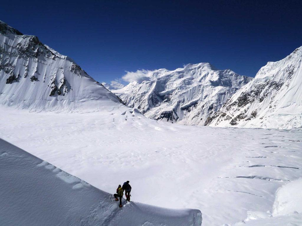 Blickrichtung Lager I, Eisbruch, Gasherbrum II, Gasherbrum 2, Gasherbrum Expedition, Expeditionen, Expeditionen in Pakistan,