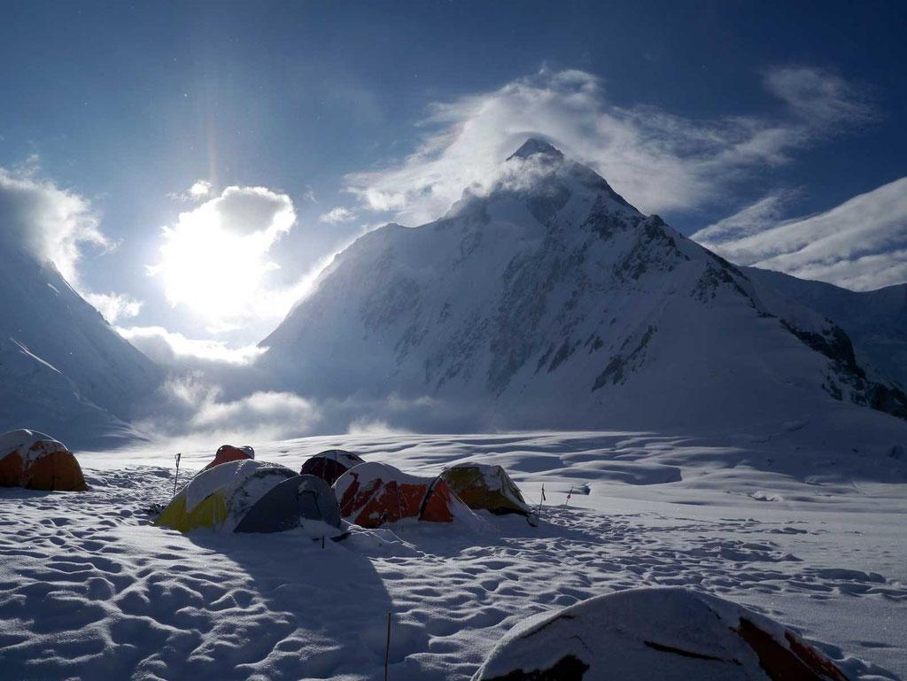 Lager I am Gasherbrum, Gasherbrum II, Gasherbrum 2, Gasherbrum Expedition, Expeditionen, Expeditionen in Pakistan,