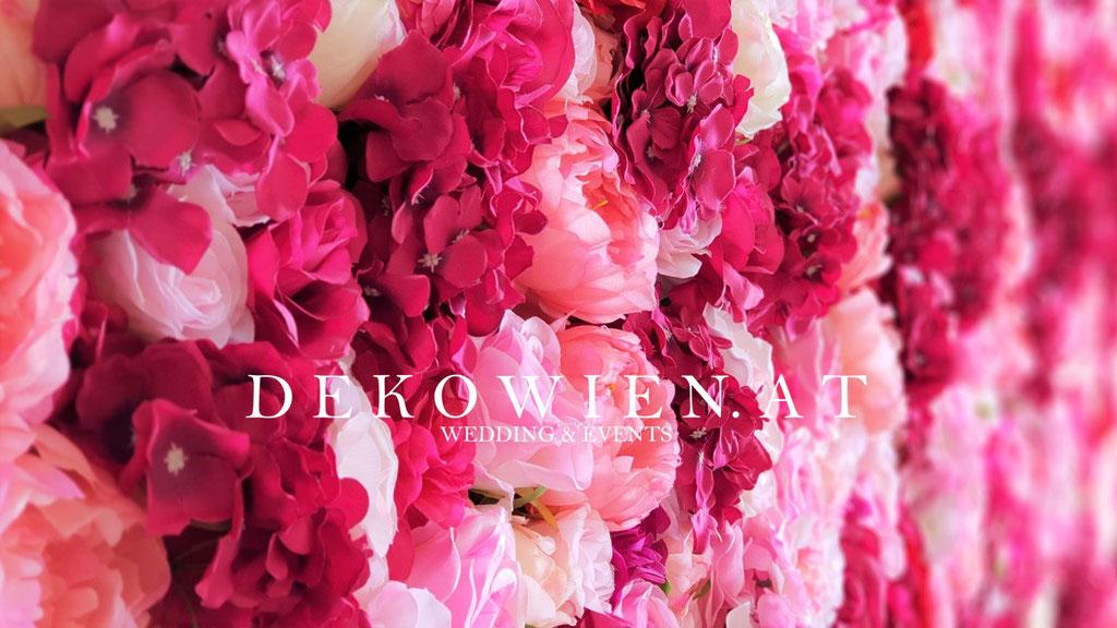 Seiden- Blumenwand mieten magenta- rosa