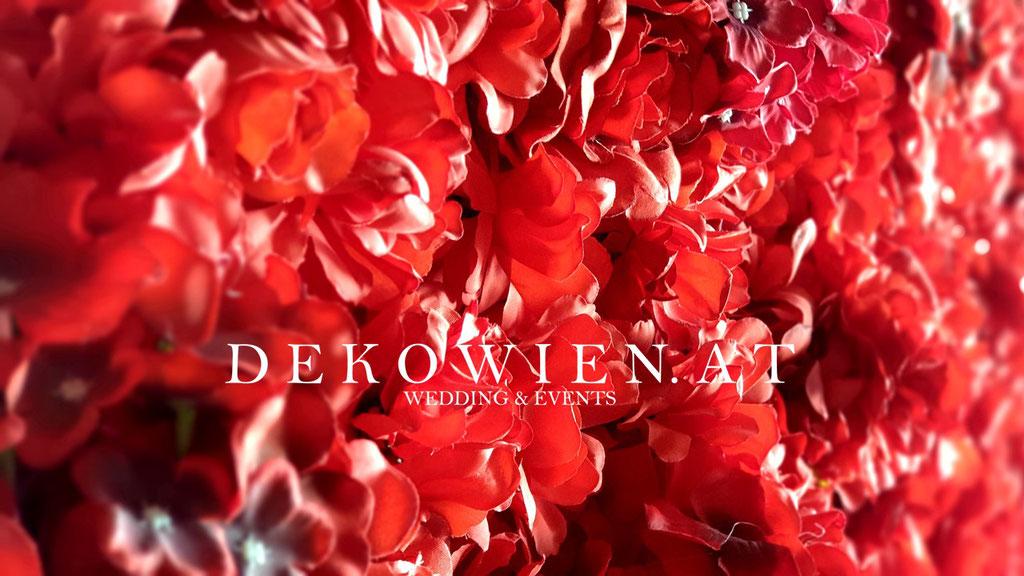 Seiden- Blumenwand mieten purpur rot