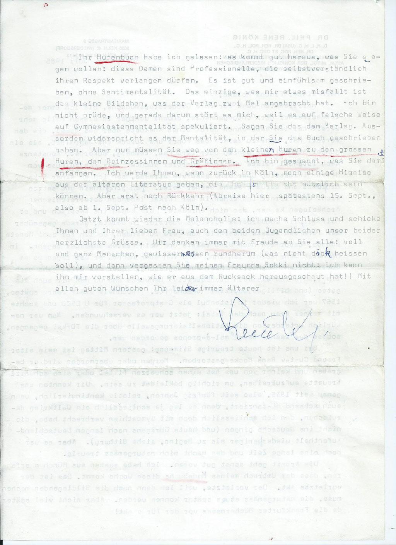 Brief von Rene König an Roland Girtler vom Juli 1985 - Seite 2
