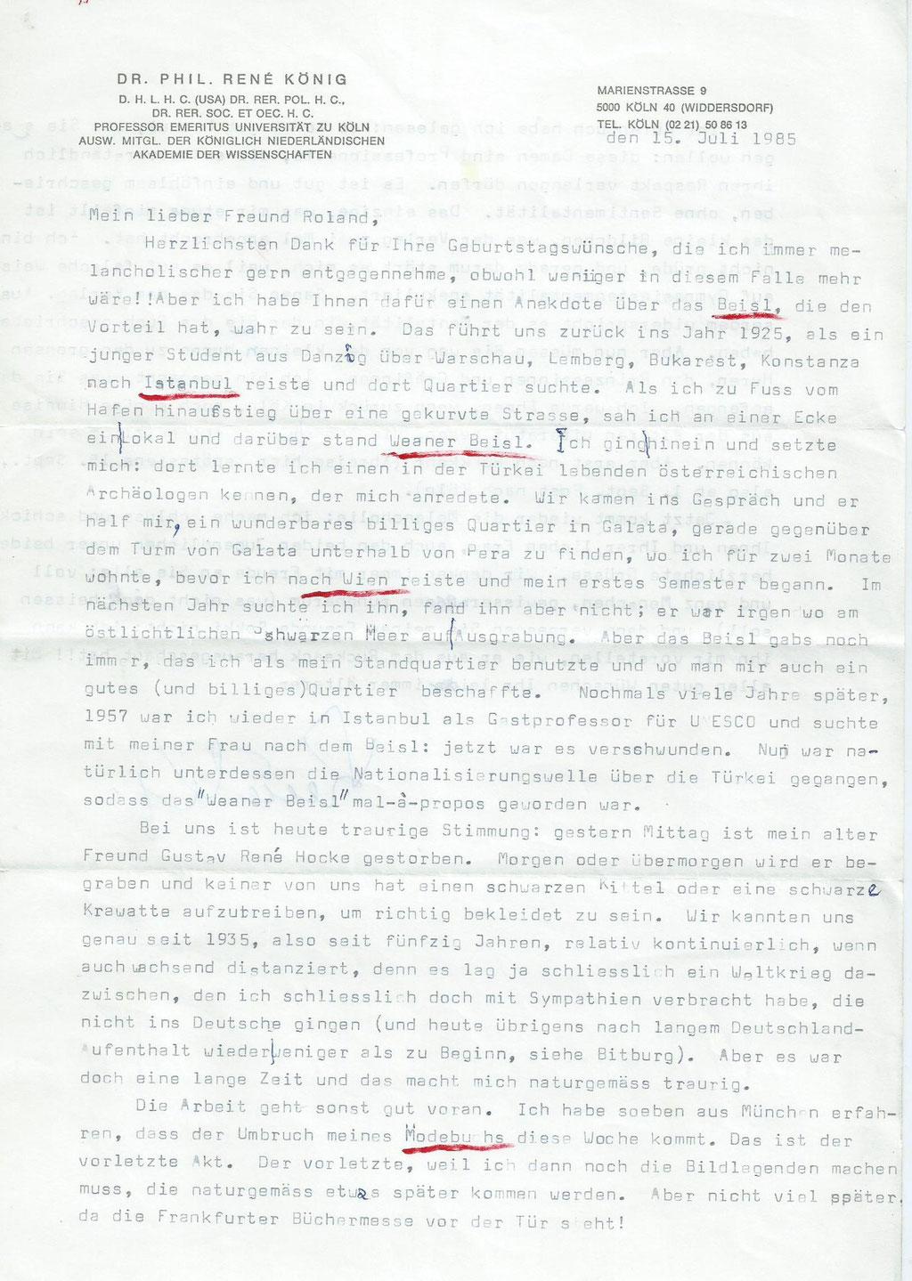 Brief von Rene König an Roland Girtler vom Juli 1985 - Seite 1