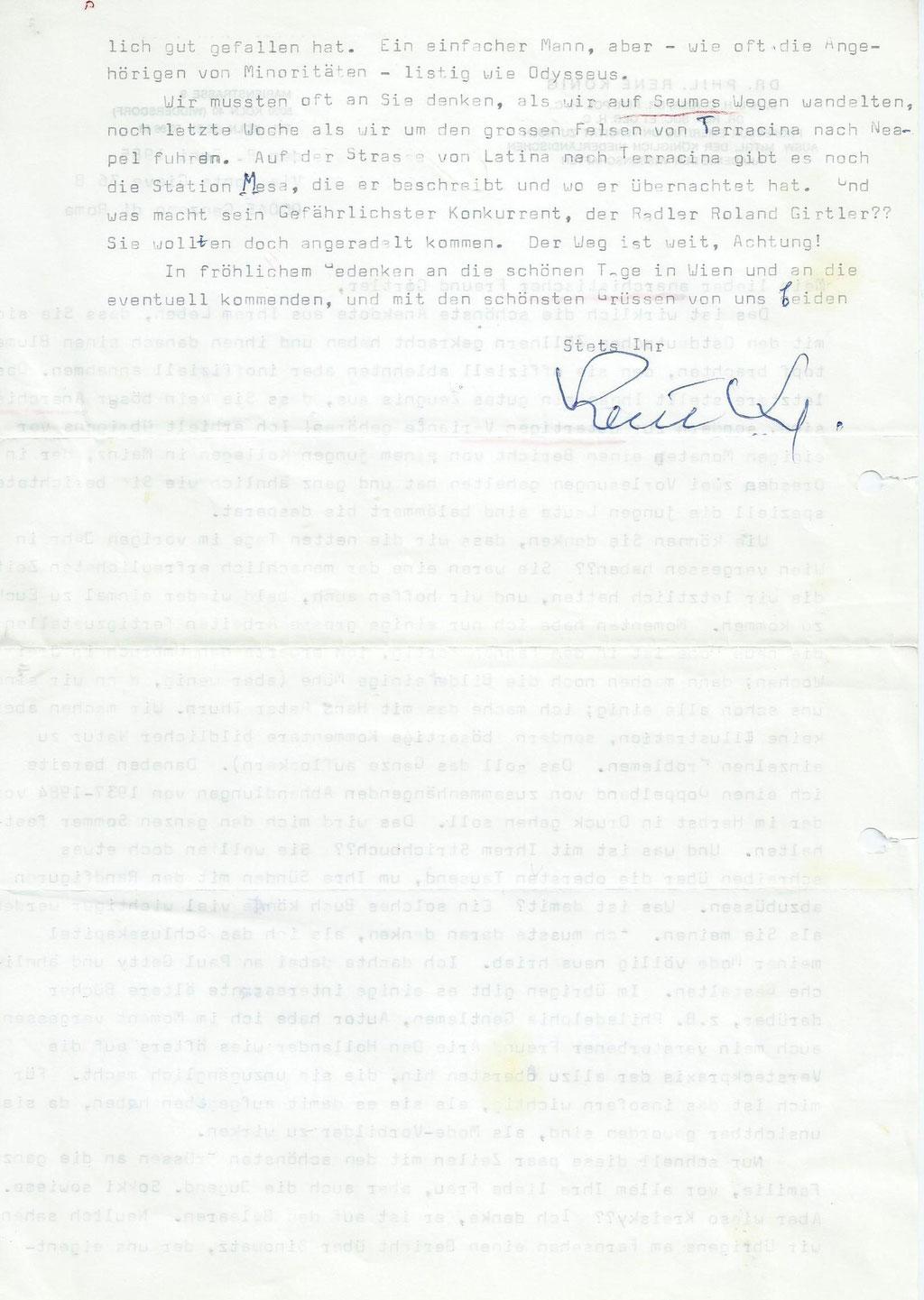 Brief von Rene König an Roland Girtler vom Juni 1985 - Seite 2