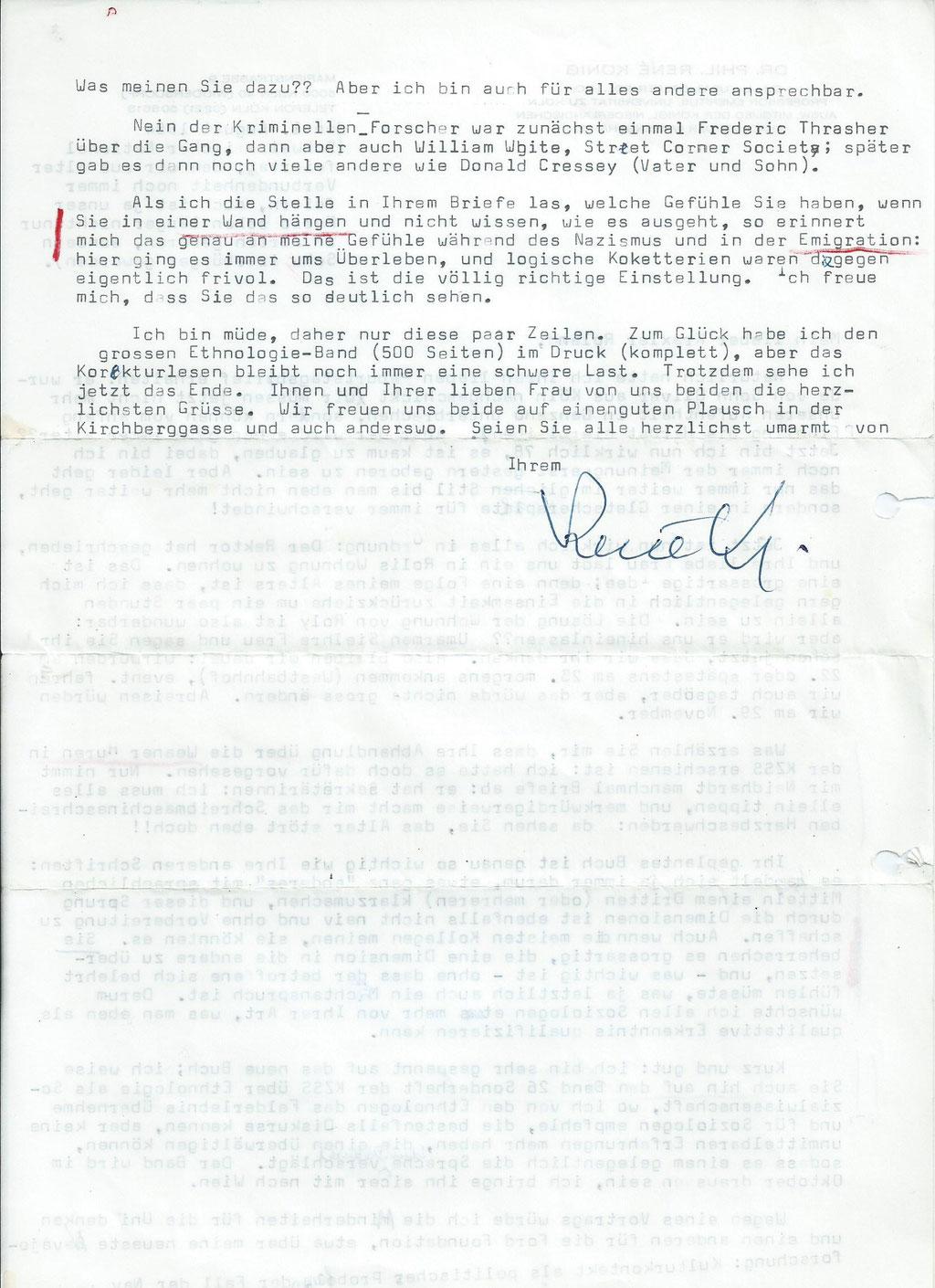 Brief von Rene König an Roland Girtler vom August 1984 - Seite 2