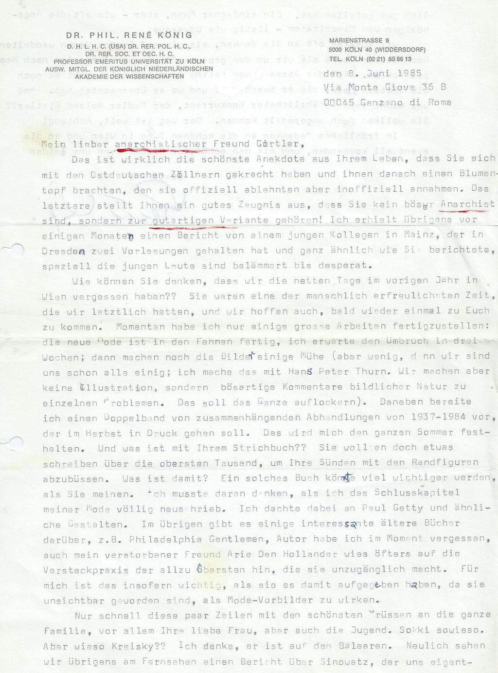 Brief von Rene König an Roland Girtler vom Juni 1985 - Seite 1