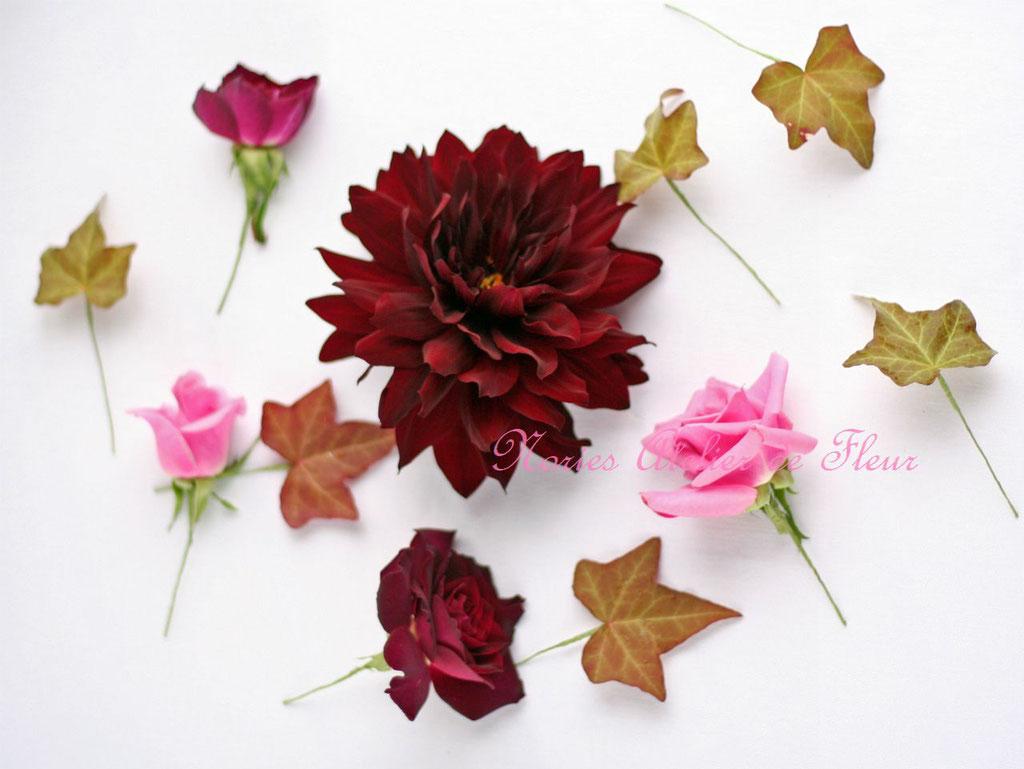 生花のダリア、バラなどを使ったヘアオーナメント