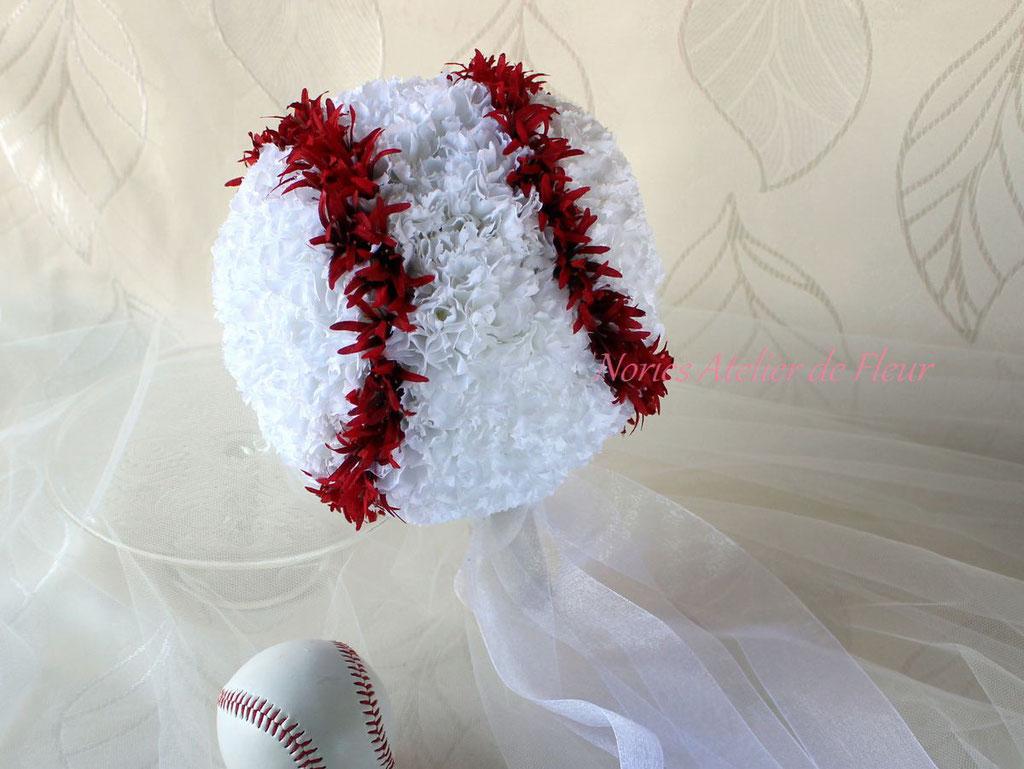 野球のボール型ブーケ アーティフィシャルフラワー
