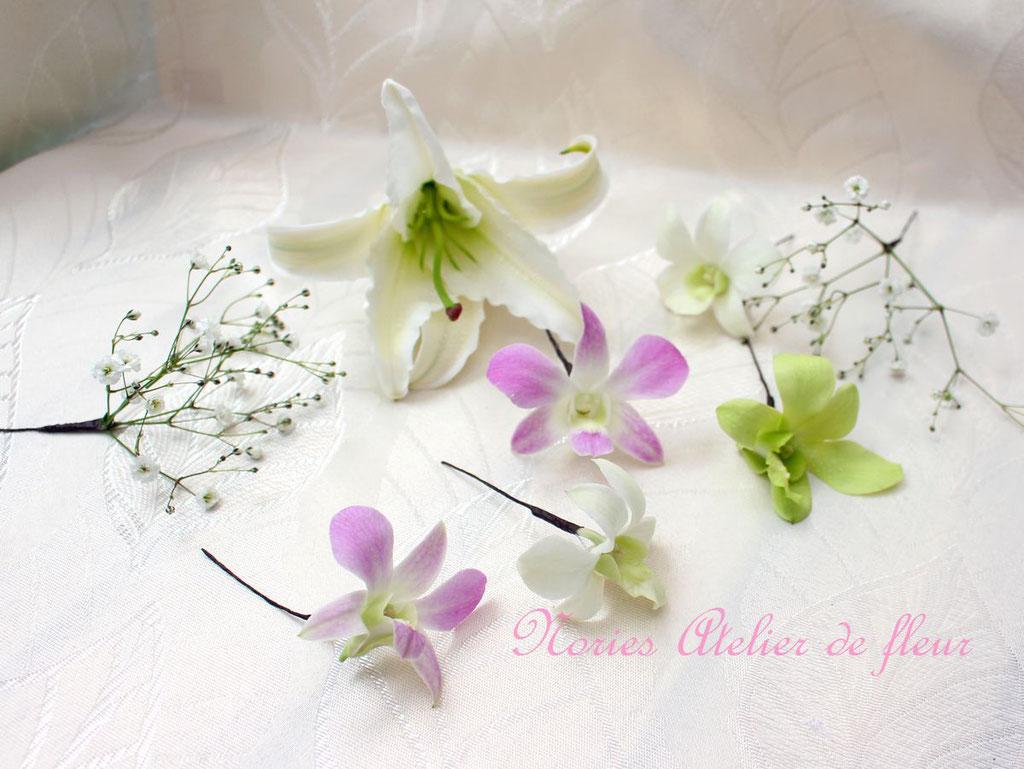 大輪のユリと桜のキャスケードブーケ ヘアオーナメントパーツタイプ