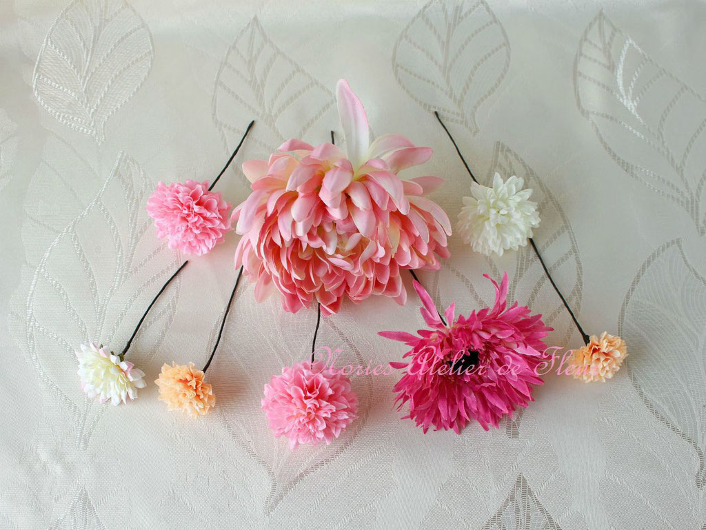 和装の花嫁様に手まり風ブーケに合わせて作ったアーティフィシャルフラワーのヘアオーナメント