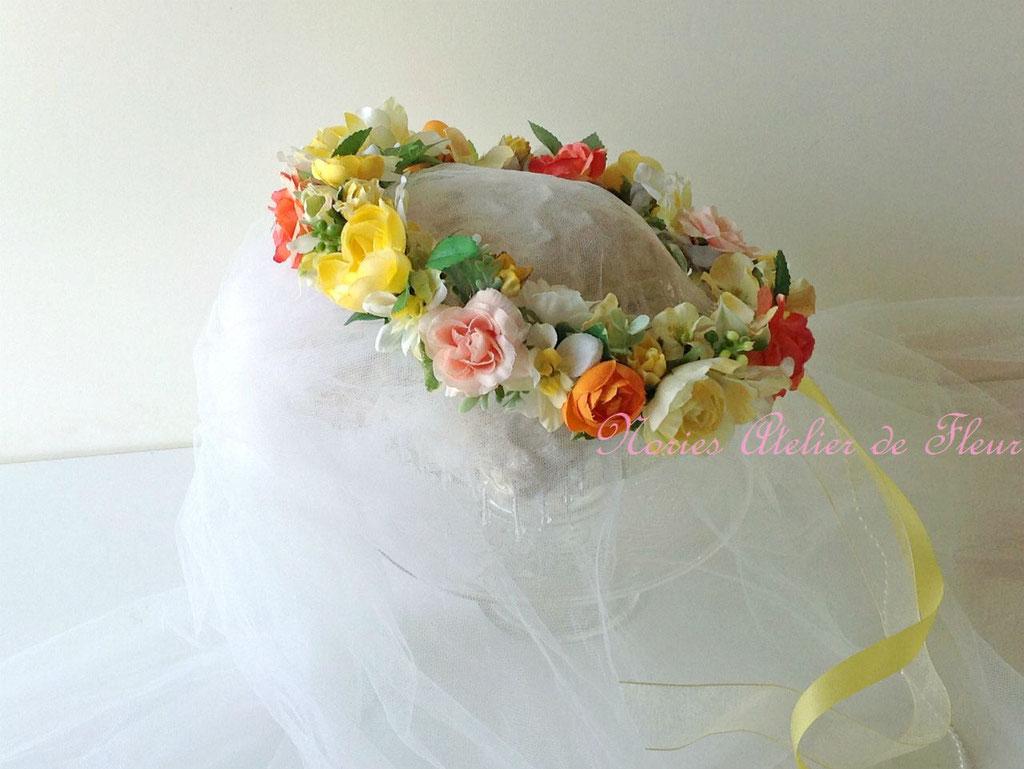 Erica エリカ イエロー・オレンジのミックスカラーのアーティフィシャルフラワーを使った花かんむり