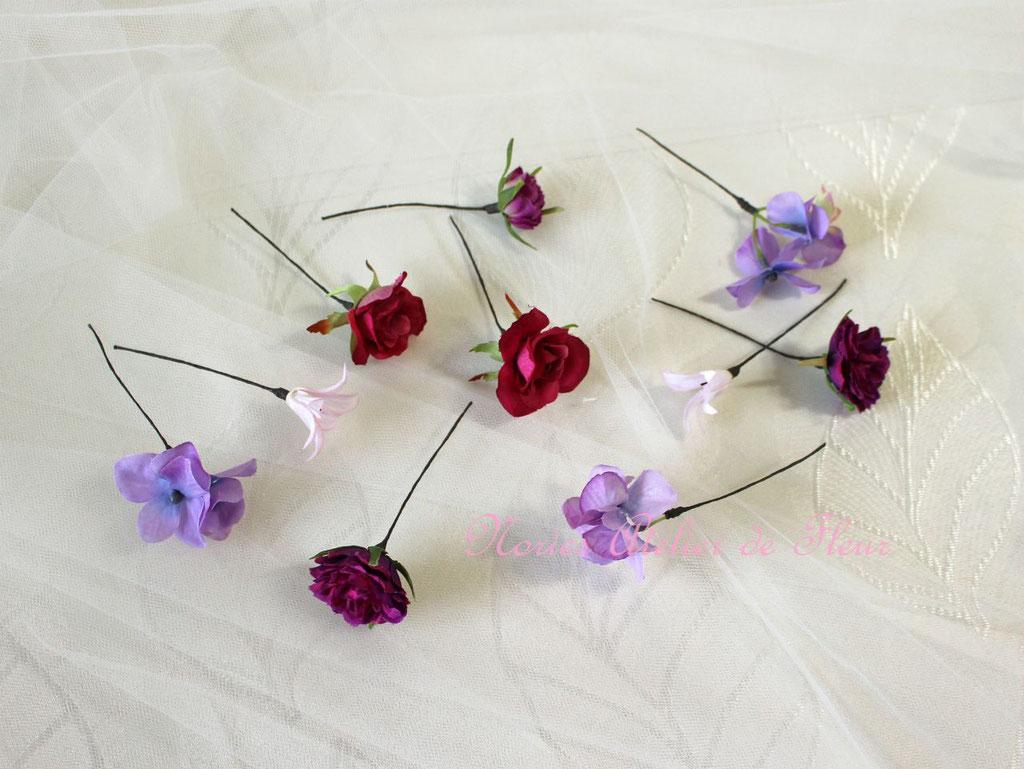 Rosy ロージー パープル系のアーティフィシャルフラワーで花かんむりと組み合わせたヘアオーナメント