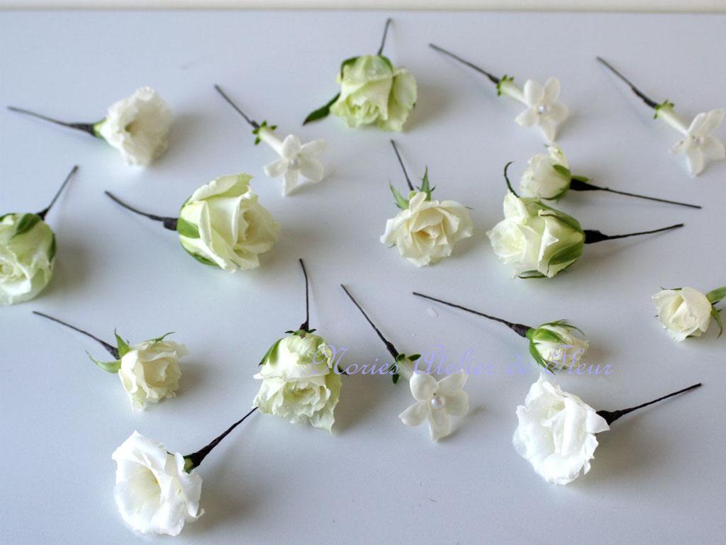 生花の白いバラのお式用のウェディングブーケに合わせて作ったヘアオーナメント