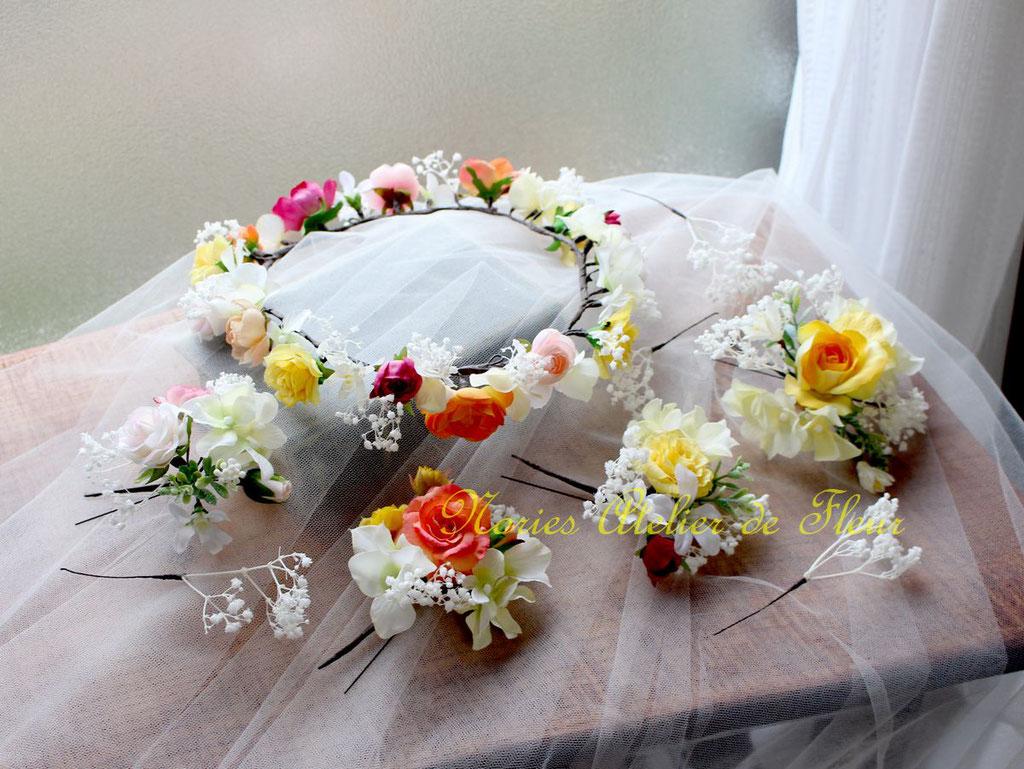 Emily エミリー オレンジ・イエロー系のアーティフィシャルフラワーでお花冠と組み合わせたヘアオーナメント